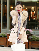 Women's Long Sleeve Casual Fur Collar Thick Plus Sizes Winter Down Coat