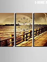 E-HOME® Shore Scenery Clock in Canvas 3pcs