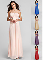 Floor-length Chiffon Bridesmaid Dress - Pearl Pink Plus Sizes Sheath/Column Sweetheart