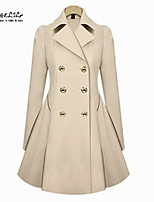 Women's Casual Plus Sizes Thin Slim OL Trench Faux Long Design Trench Coat