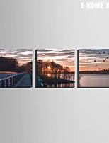 Quadrato Moderno/Contemporaneo Orologio da parete , Altro Tela30 x 30cm(12inchx12inch)x3pcs / 40 x 40cm(16inchx16inch)x3pcs/ 50 x