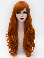 Harajuku Fashion Long Loose Curly Full Bang Hair Orange Gradient Synthetic Lolita Party Women Wigs