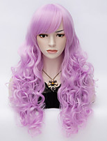 Harajuku Fashion Long Curly Hair Light Purple Heat Resistant Synthetic Women Wigs