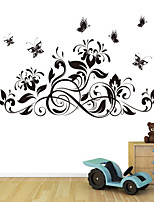 Wall Stickers Wall Decals Style Black Butterfly Flower PVC Wall Stickers