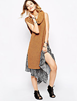 Women's Solid White / Brown Vest , Casual Sleeveless
