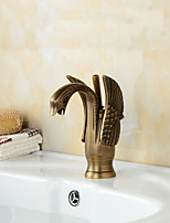 Antique Brass Finish Little Swan Bathroom Sink Faucet