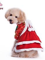 Casacos / Vestidos - Inverno - Vermelho - Natal / Ano Novo - de Algodão / Malha polar - para Cães / Gatos - XS / S / M / L / XL