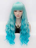 Ladies Fashion Curly Hair  Long Blue Gradient  Full Bang Women's Wigs