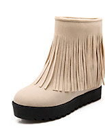 Women's Shoes Fleece Wedge Heel Fashion Boots / Round Toe Boots Dress / Casual Black / Brown / Red / Beige