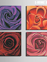 E-HOME® Stretched Canvas Art Rose Decorative Painting Set of 4
