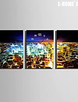 E-HOME® City Neon Lights Clock in Canvas 3pcs
