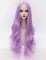 80cm Long Loose Wavy U Part Hair Light Purple Heat-resistant Synthetic Vogue Party Wig