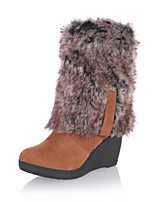 Women's Shoes Winter Fashion Boots Boots Outdoor / Office & Career / Casual Wedge Heel Others Black / Brown / Almond