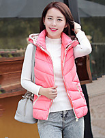 Women's Slim Thin hoodie Sleeveless Down Coat , Casual/Cute/Work Cotton/Polyester/Feather