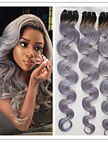 3Pcs/Lot Unprocessed #1B/Grey Hair Extensions Boby Wave Brazilian Black And Grey Ombre Color Virgin Human Hair Weave