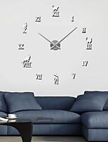 Uermerstar Silver Metal Modern Diy Large Home Decor Wall Clocks Diameter 39 in