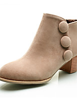 Women's Shoes Fleece Chunky Heel Fashion Boots Boots Outdoor / Dress / Casual Black / Brown / Khaki