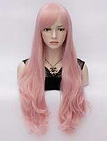70cm loita chaleur corps long cheveux ondulés cosplay perruque résister partie synthétique cheveux en rose
