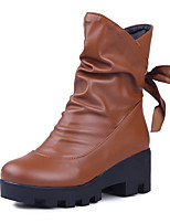 Women's Shoes Chunky Heel Fashion Boots/Round Toe Boots Dress/Casual Black/Brown/Beige
