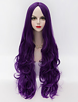 European Style Long Loose Wavy U Part Hair Deep Purple Synthetic Fashion Party Wig