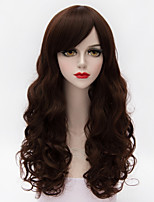 65cm Long Fluffy Body Wavy Side Bang Hair Deep Auburn Heat-resistant Synthetic European Lolita Fashion Women Wig