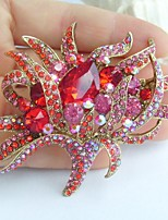 2.95 Inch Gold-tone Red Rhinestone Crystal Flower Brooch Pendant Art Decorations