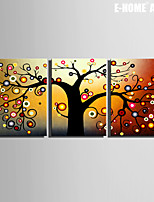 E-HOME® Stretched Canvas Art Abstract Tree Decorative Painting Set of 3