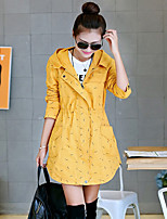 Women's Blue/Red/Green/Yellow Trench Coat , Casual Long Sleeve Others