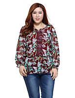 Prettyshow 2015 autumn new style women big size XL-5XL full sleeve slimming chiffon printing clothes QA3XC0306