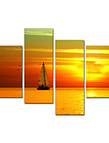VISUAL STAR®Sea Boat Scenery Canvas Painting Sunset Stretched Canvas Printing Art