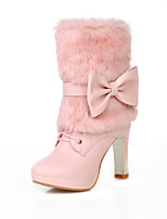 Women's Shoes Chunky Heel Fashion Boots/Round Toe Boots Dress Black/Pink/Beige