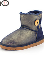 MO Womens One Button Fully Fur Lined Winter Snow Boots Cowhide Leather