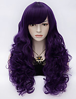 Daily Style Fashion Long Kinky Curly Hair With Side Bang Purple Party Wig