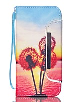 EFORCASE Sunset Dandelion Split Lanyard Painted PU Phone Case for for Galaxy S6 edge S6 S5 S4 S3 S5 mini S4 mini