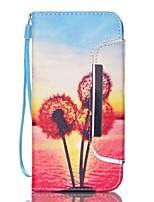 Para Samsung Galaxy Capinhas Carteira / Porta-Cartão / Com Suporte Capinha Corpo Inteiro Capinha Dente de Leão Rígida Couro PU SamsungS6
