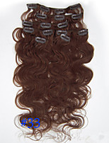 20inch (50cm) 8pcs 100g Body Wavy Clip in on Real Remy Human Hair Extensions Color #33 Dark Auburn