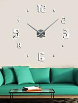 Uermerstar DIY Large 3D Mirror Numbers Wall Clock Silver Color  Diameter 39 in