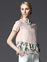 European and American summer hem splice ethnic style embroidery beading A-type shirt HNY0714