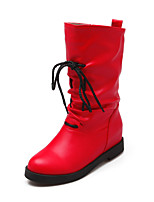 Women's Shoes Wedge Heel Wedges/Fashion Boots/Round Toe Boots Dress Black/Red/Beige