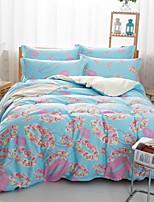 Light Blue Lip Print Cotton Bedding Set Of 4pcs Four Seasons Use