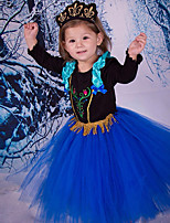 Girl's Fashion Simplicity Long Sleeve Cotton Blend  Princess Dress