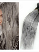 3Pcs/Lot Top Quality Ombre 1B/Grey 100% Brazilian Virgin Hair Straight Ombre Human Hair Weaving Extension
