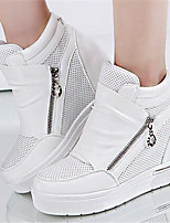 Women's Shoes  Flat Heel Round Toe Fashion Sneakers Casual Black/White/Silver