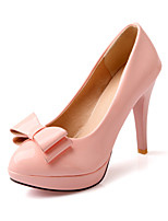 Women's Heels Summer / Fall Heels / Round Toe Patent Leather Office & Career / Casual Stiletto Heel Bowknot Green / Pink / White