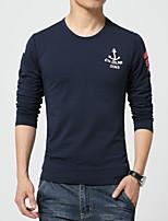 Men's Fashion Print Round Collar Slim Long Sleeved T-Shirts