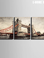 E-HOME® Stretched Canvas Art European Bridge Decorative Painting Set of 3