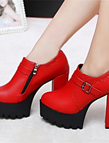 Women's Shoes  Chunky Heel Round Toe Pumps/Heels Dress Black/Red