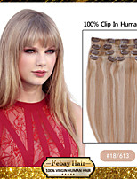 Hot Sale 15 Inch Clip In Straight 100% Human Hair Extensions 70G #18/613 Blonde Brown Mix