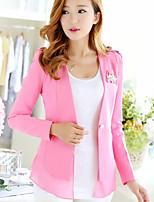 Women's Solid Pink / Black Blazer , Casual / Work Shirt Collar Long Sleeve
