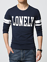 Men's Fashion Letter Print Slim Long Sleeved T-Shirts